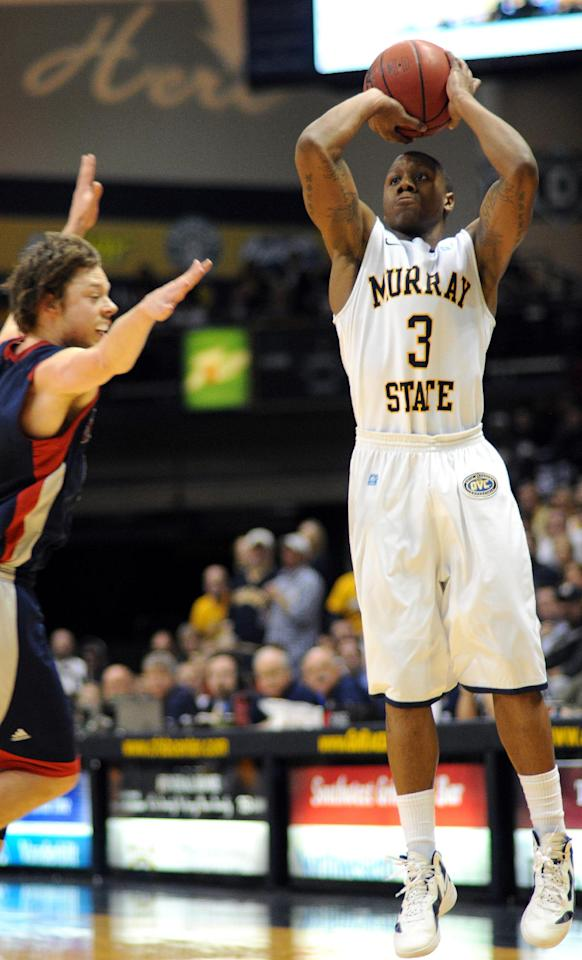 Murray State's Isaiah Canaan (3) shoots against St. Mary's Matthew Delavedova during the second half of an NCAA college basketball game on Saturday, Feb. 18, 2012, in Murray, Ky. Murray State won 65-51. (AP Photo/Stephen Lance Dennee)
