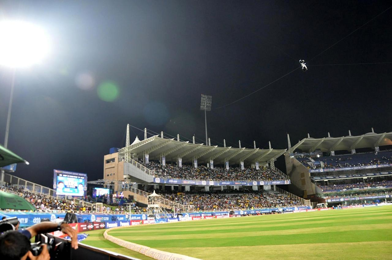 Play was interrupted as the Flood light at JSCA International Cricket Stadium developed snag during the Champions League T20, 2nd match, Group B between Brisbane Heat and Trinidad & Tobago at Ranchi on Sept. 22, 2013. (Photo: IANS)