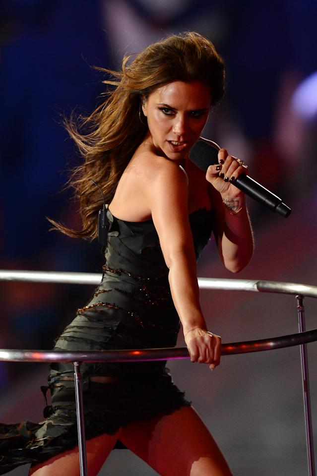 LONDON, ENGLAND - AUGUST 12:  Victoria Beckham of the Spice Girls performs during the Closing Ceremony on Day 16 of the London 2012 Olympic Games at Olympic Stadium on August 12, 2012 in London, England.  (Photo by Mike Hewitt/Getty Images)