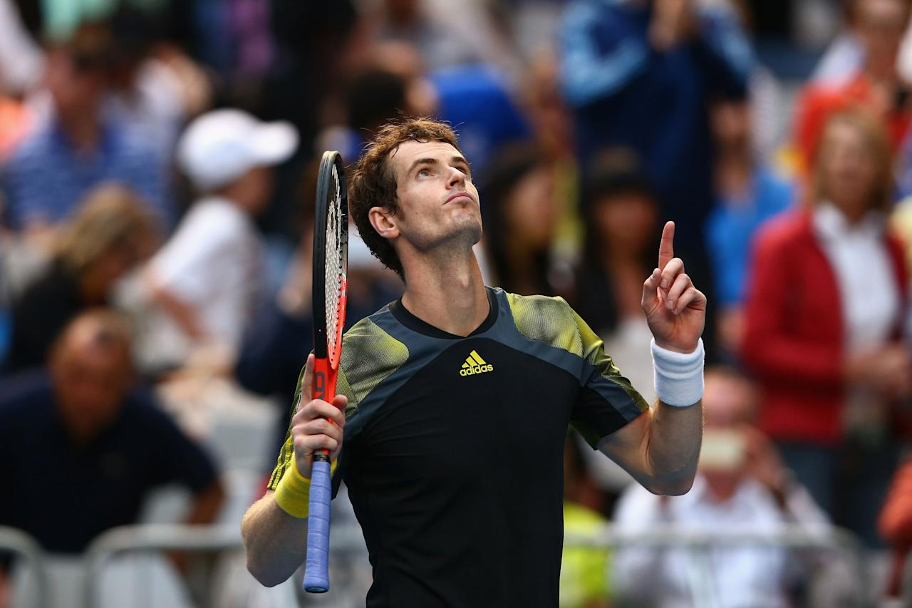 MELBOURNE, AUSTRALIA - JANUARY 21:  Andy Murray of Great Britain celebrates winning his fourth round match against Gilles Simon of France during day eight of the 2013 Australian Open at Melbourne Park on January 21, 2013 in Melbourne, Australia.  (Photo by Mark Kolbe/Getty Images)