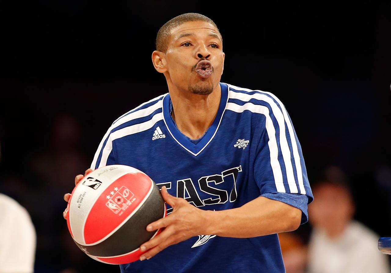 HOUSTON, TX - FEBRUARY 16: NBA legend Muggsy Bogues competes during the Sears Shooting Stars Competition part of 2013 NBA All-Star Weekend at the Toyota Center on February 16, 2013 in Houston, Texas. NOTE TO USER: User expressly acknowledges and agrees that, by downloading and or using this photograph, User is consenting to the terms and conditions of the Getty Images License Agreement. (Photo by Scott Halleran/Getty Images)