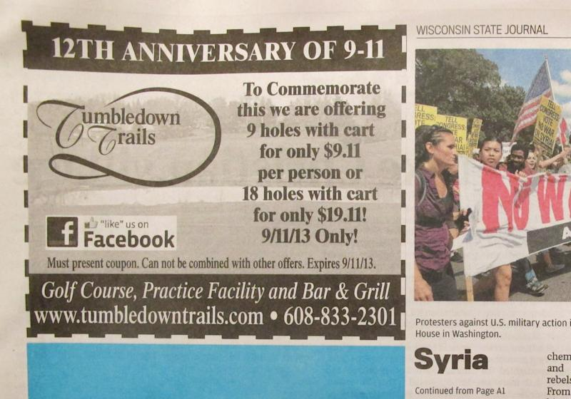Wisconsin golf club offers, retracts 9/11 special