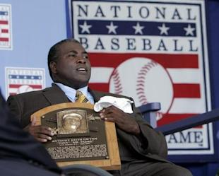Tony Gwynn holds his Hall of Fame plaque following his induction into Cooperstown. (REUTERS)