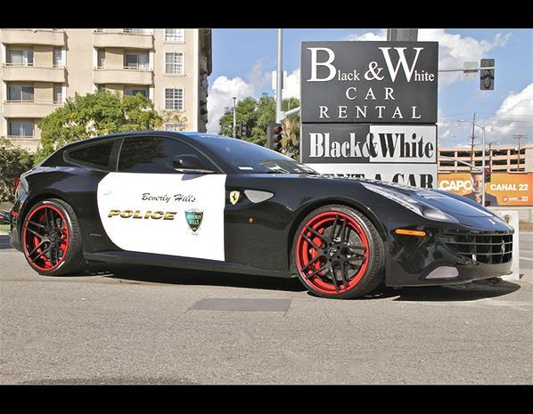 There have been crazier police cars, but this one isn't for real. This Ferrari FF was specially made for the Beverly Hills Police Officers Association Ball, raising money for the organization.