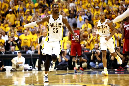 INDIANAPOLIS, IN - JUNE 01: Roy Hibbert #55 of the Indiana Pacers celebrates after scoring against the Miami Heat in Game Six of the Eastern Conference Finals during the 2013 NBA Playoffs at Bankers Life Fieldhouse on June 1, 2013 in Indianapolis, Indiana. (Photo by Ronald Martinez/Getty Images)