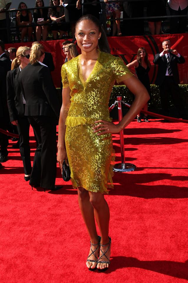LOS ANGELES, CA - JULY 13:  Olympic Athlete Allyson Felix arrives at The 2011 ESPY Awards at Nokia Theatre L.A. Live on July 13, 2011 in Los Angeles, California.  (Photo by Frederick M. Brown/Getty Images)