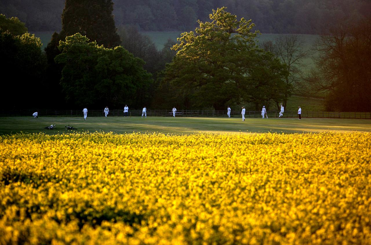 KNIPTON, ENGLAND - MAY 02: A game of cricket is played at Belvoir Cricket Club in the late evening sun on May 02, 2007 in Knipton, England.  (Photo by Laurence Griffiths/Getty Images)
