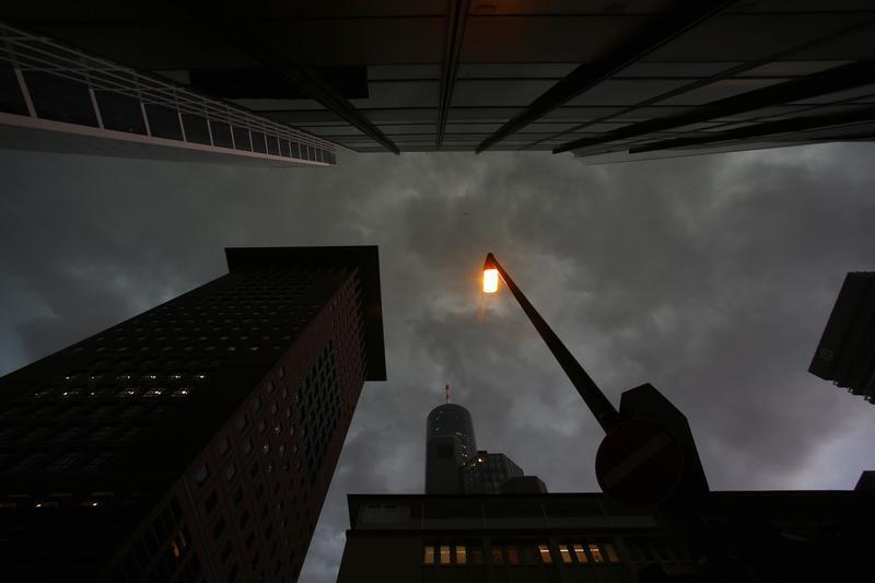 A street lamp is pictured in the financial district of Frankfurt
