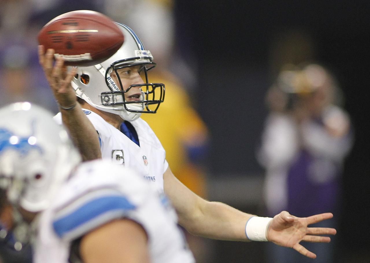 MINNEAPOLIS, MN - NOVEMBER 11: Matthew Stafford #9 of the Detroit Lions throws in the third quarter against the Minnesota Vikings on November 11, 2012 at Mall of America Field at the Hubert H. Humphrey Metrodome in Minneapolis, Minnesota. (Photo by Andy King/Getty Images)