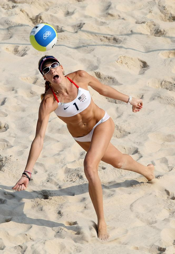 BEIJING - AUGUST 19:  Kerri Walsh of the United States reaches to save a ball during the Women's Semifinal match against Brazil at the Chaoyang Park Beach Volleyball Ground on Day 11 of the Beijing 2008 Olympic Games on August 19, 2008 in Beijing, China.  (Photo by Nick Laham/Getty Images)