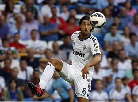 Real Madrid's Sami Khedira controls the ball during their Spanish first division match in Madrid