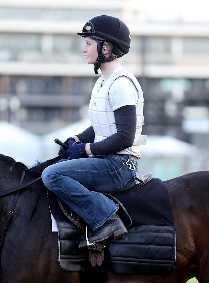 LOUISVILLE, KY - MAY 02:  Rosie Napravnik the jockey for Mylute sits on a horse during the morning training for the 2013 Kentucky Derby at Churchill Downs on May 2, 2013 in Louisville, Kentucky.  (Photo by Andy Lyons/Getty Images)