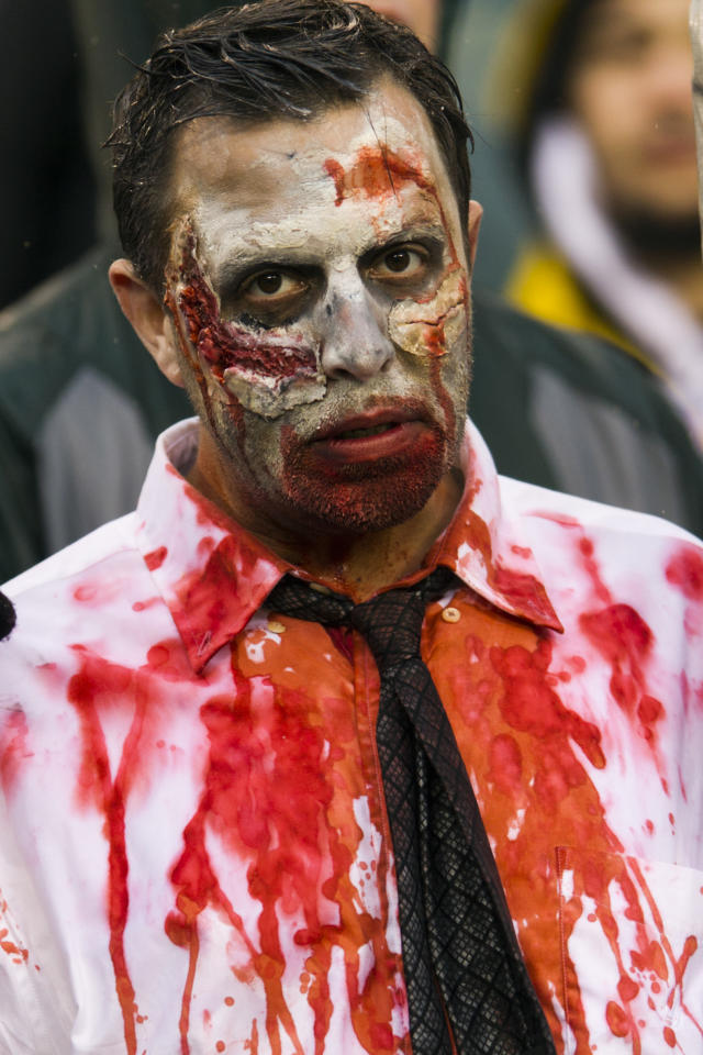 Oct 28, 2012; Philadelphia, PA, USA; Philadelphia Eagles fan dressed for Halloween  during the fourth quarter against the Atlanta Falcons at Lincoln Financial Field. The Falcons defeated the Eagles 30-17. Mandatory Credit: Howard Smith-US PRESSWIRE