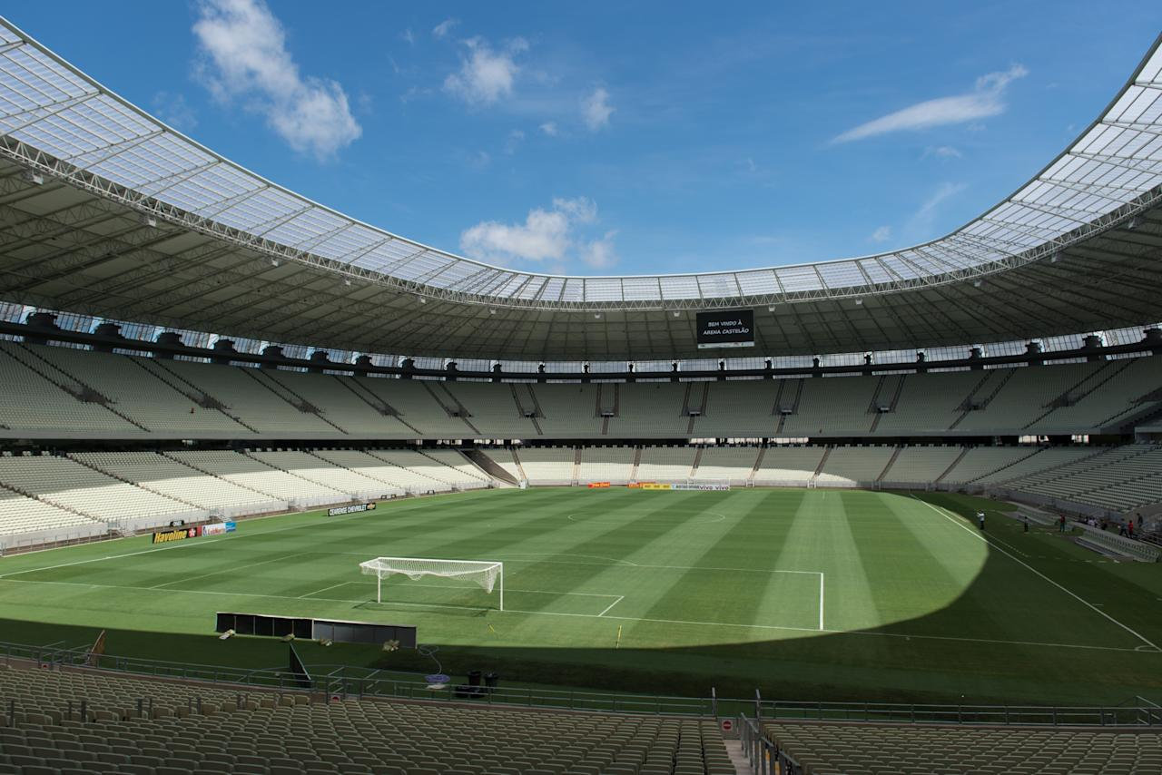 View of the inside of the Castelao Arena in Fortaleza, Ceara State, northeastern Brazil, on April 16, 2013. Fortaleza will host the upcoming FIFA Confederations Cup matches Brazil vs Mexico, Spain vs Nigeria and the semi-final. AFP PHOTO/Yasuyoshi CHIBAYASUYOSHI CHIBA/AFP/Getty Images
