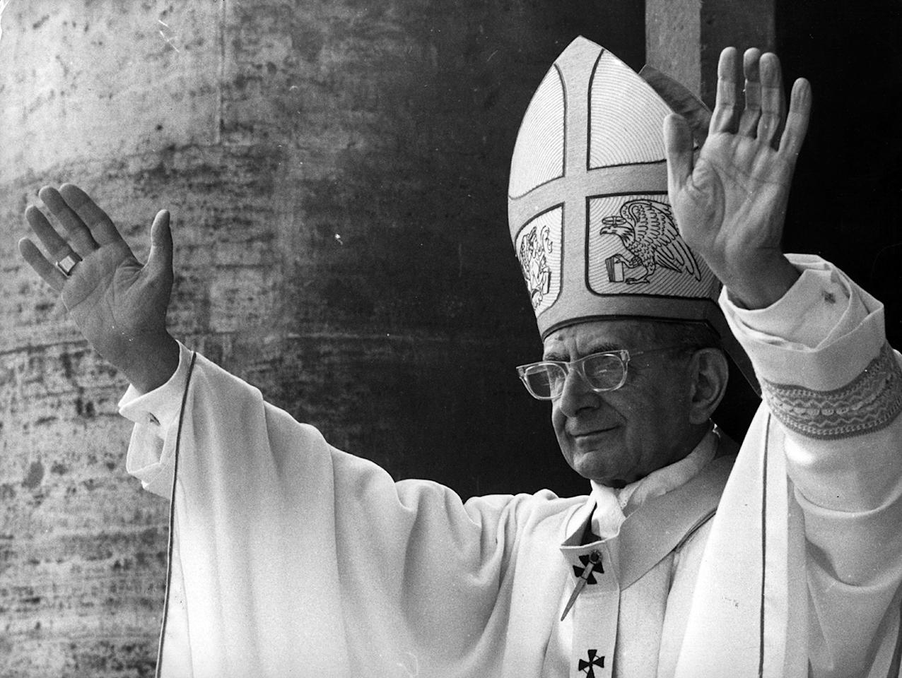 April 1976:  Pope Paul VI, Giovanni Battista Montini, at his Easter Address on the balcony of St Peter's Basilica.  (Photo by Keystone/Getty Images)