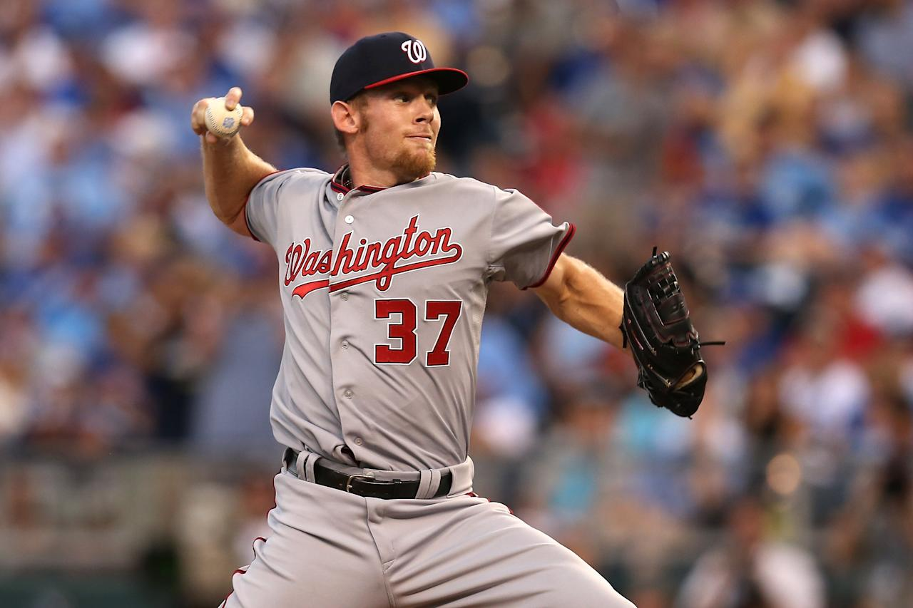 KANSAS CITY, MO - JULY 10:  National League All-Star Stephen Strasburg #37 of the Washington Nationals pithces in the fourth inning during the 83rd MLB All-Star Game at Kauffman Stadium on July 10, 2012 in Kansas City, Missouri.  (Photo by Jonathan Daniel/Getty Images)