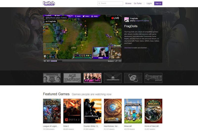 The homepage of live-streaming gaming network Twitch Interactive
