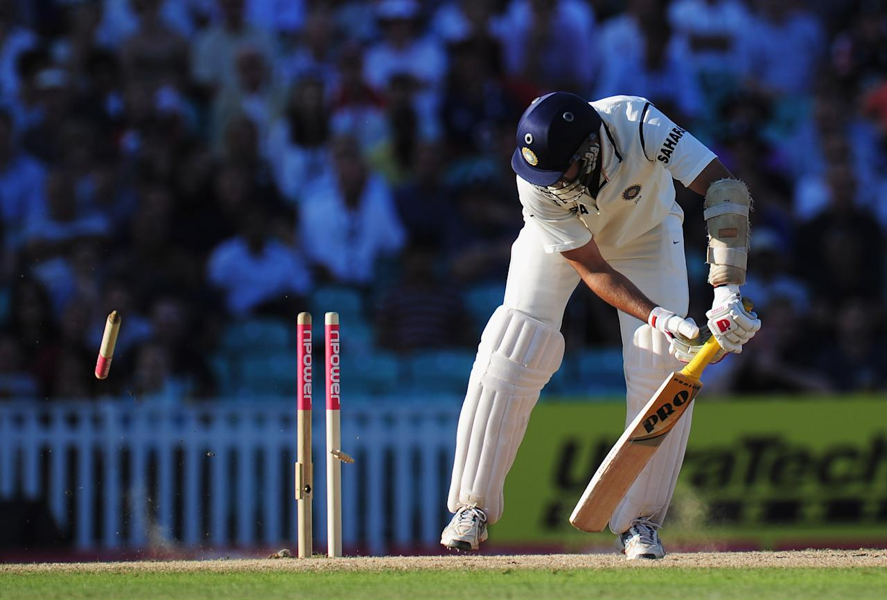 LONDON, ENGLAND - AUGUST 21:  VVS Laxman of India is bowled by James Anderson of England during day four of the 4th npower Test Match between England and India at The Kia Oval on August 21, 2011 in London, England.  (Photo by Shaun Botterill/Getty Images)