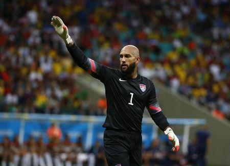 Tim Howard of the U.S. gestures during their 2014 World Cup round of 16 game against Belgium at the Fonte Nova arena in Salvador