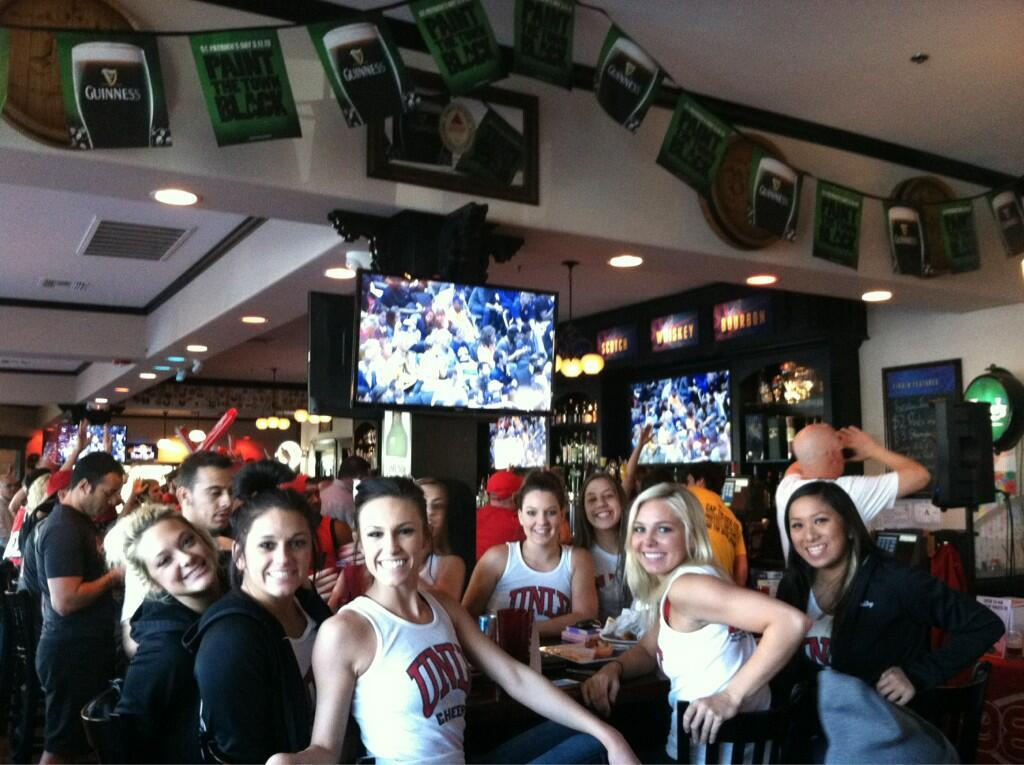 UNLV hanging out at the bar in hoodies.