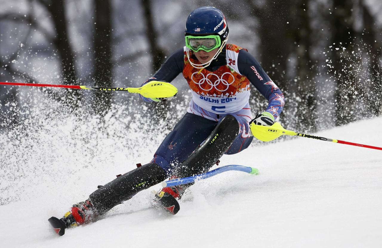 Mikaela Shiffrin of the U.S. skis during the first run of the women's alpine skiing slalom event at the 2014 Sochi Winter Olympics at the Rosa Khutor Alpine Center February 21, 2014. REUTERS/Mike Segar (RUSSIA - Tags: SPORT SKIING OLYMPICS)