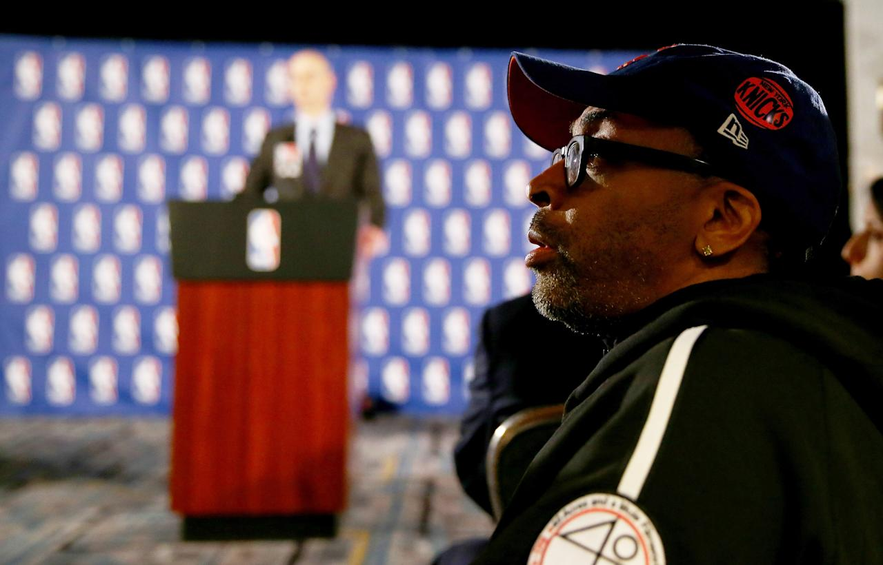 NEW YORK, NY - APRIL 29: Spike Lee attends the press conference as NBA Commissioner Adam Silver discusses punishment for Los Angeles Clippers owner Donald Sterling at the Hilton Hotel on April 29, 2014 in New York City. Silver announced that Sterling will be banned from the NBA for life and will be fined $2.5 million for racist comments released in audio recordings. (Photo by Elsa/Getty Images)