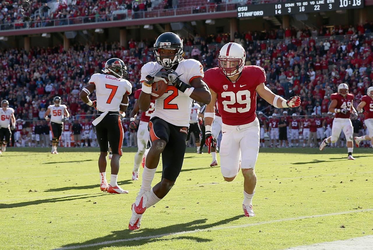 STANFORD, CA - NOVEMBER 10: Markus Wheaton #2 of the Oregon State Beavers runs past Ed Reynolds #29 of the Stanford Cardinal to score a touchdown at Stanford Stadium on November 10, 2012 in Stanford, California.  (Photo by Ezra Shaw/Getty Images)