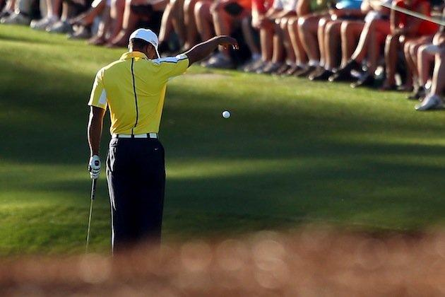 Tiger Woods takes an illegal drop on the 15th hole at the Masters -- Getty Images