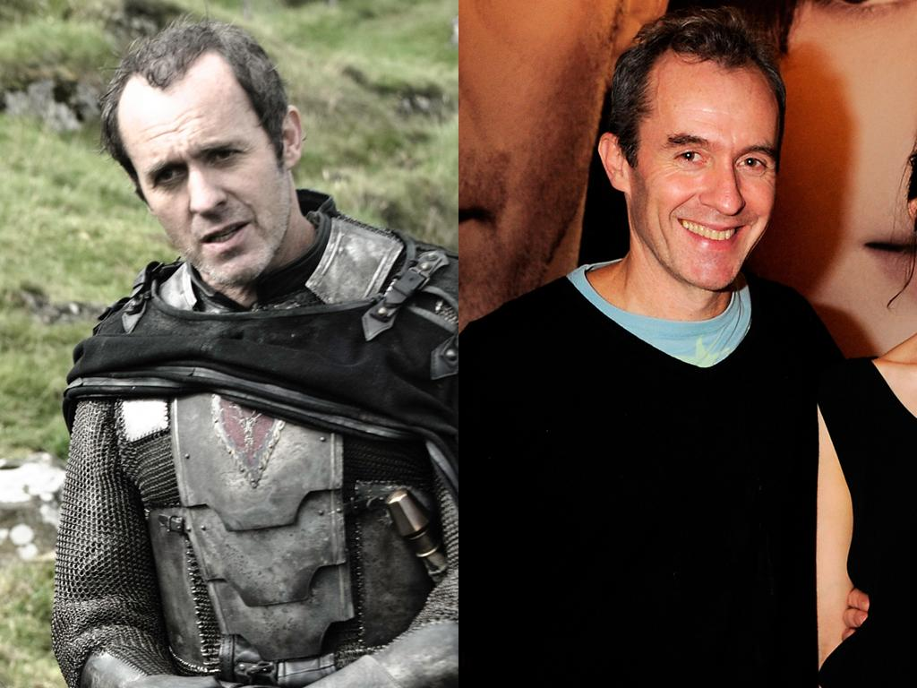 """<b>Stephen Dillane (Stannis Baratheon)<br><br></b>As Iron Throne contender Stannis Baratheon, Dillane looks a lot more grim than he does in real life. (That armor must weigh a ton.) And this isn't his first time dabbling in the medieval genre; the actor played Merlin in the 2004 Keira Knightley film, """"King Arthur."""""""