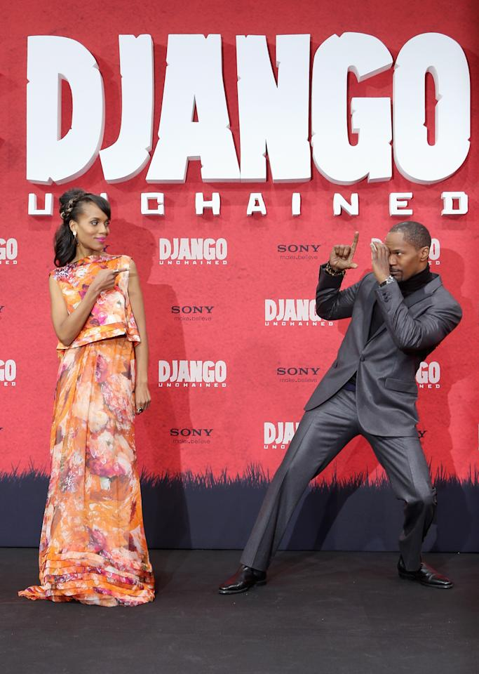 BERLIN, GERMANY - JANUARY 08:  Kerry Washington and Jamie Foxx attend 'Django Unchained' Berlin Premiere at Cinestar Potsdamer Platz on January 8, 2013 in Berlin, Germany.  (Photo by Sean Gallup/Getty Images for Sony Pictures)