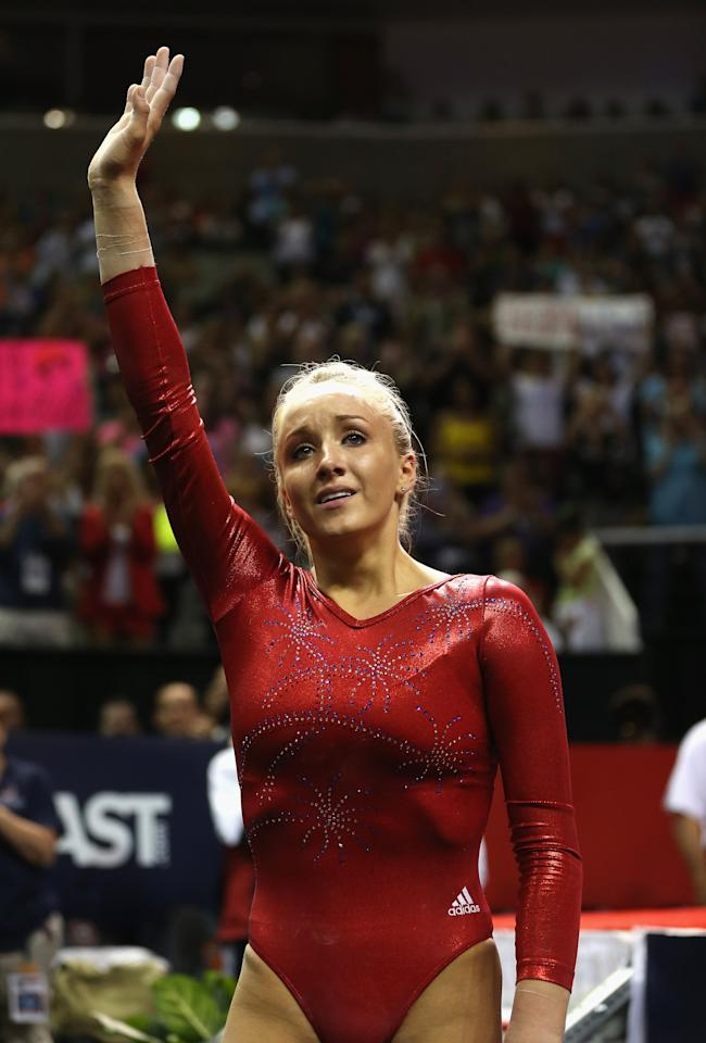Nastia Liukin waves to the crowd after competing on the beam during day 4 of the 2012 U.S. Olympic Gymnastics Team Trials at HP Pavilion on July 1, 2012 in San Jose, California. (Photo by Ezra Shaw/Getty Images)