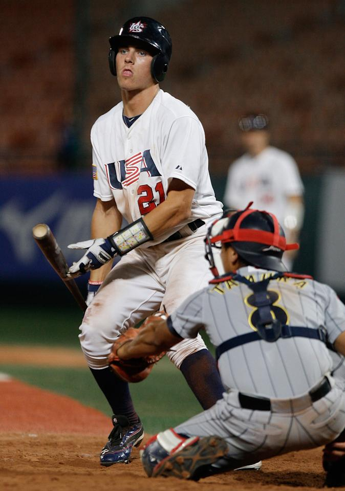 SEOUL, SOUTH KOREA - SEPTEMBER 07:  Reese McGuire of United States look on in the eighth inning during the U18 Baseball World Championship match between Japan and the United States at Mokdong stadium on September 7, 2012 in Seoul, South Korea.  (Photo by Chung Sung-Jun/Getty Images)