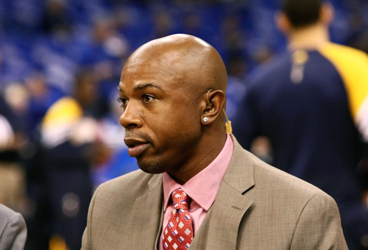 May 2, 2012; Orlando, FL, USA; NBA television personality Greg Anthony during pre-game broadcast of game three in the Eastern Conference quarterfinals of the 2012 NBA Playoffs at the Amway Center. Mandatory Credit: Douglas Jones-US PRESSWIRE