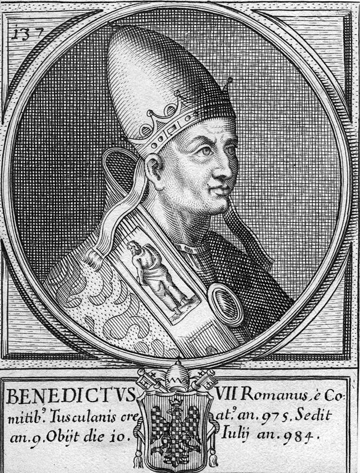Circa 980 AD, Pope Benedict VII, from 974 - 983. (Photo by Hulton Archive/Getty Images)