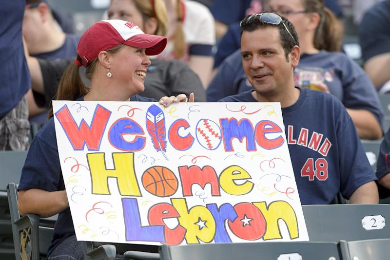 Cleveland Indians fans show their support for LeBron James during the game between the Cleveland Indians and the Chicago White Sox at Progressive Field on July 11, 2014 in Cleveland, Ohio