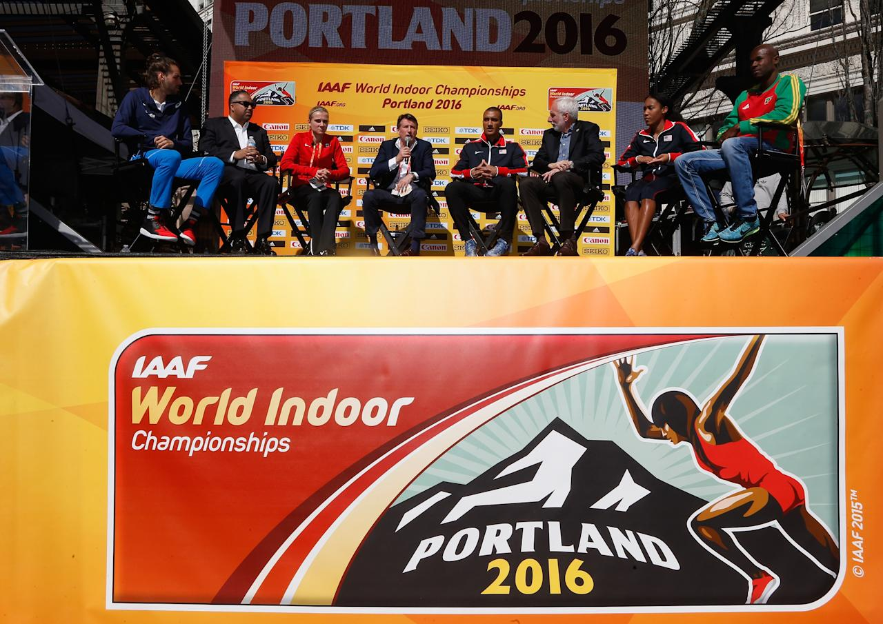 PORTLAND, OR - MARCH 17:  (L-R) Gianmarco Tamberi of Italy, USATF CEO Max Siegel, Brianne Theisen-Eaton of Canada, IAAF President Lord Sebastian Coe, Ashton Eaton of the United States,   LOC President Vin Lananna, Ajee Wilson of the United States and Kim Collins of Saint Kitts attend the IAAF/LOC Press Conference at Pioneer Courthouse Square on March 17, 2016 in Portland, Oregon.  (Photo by Christian Petersen/Getty Images for IAAF)