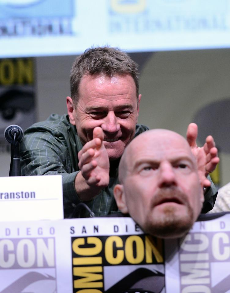 """Bryan Cranston speaks onstage at the """"Breaking Bad"""" panel during Comic-Con International 2013 at San Diego Convention Center on July 21, 2013 in San Diego, California."""