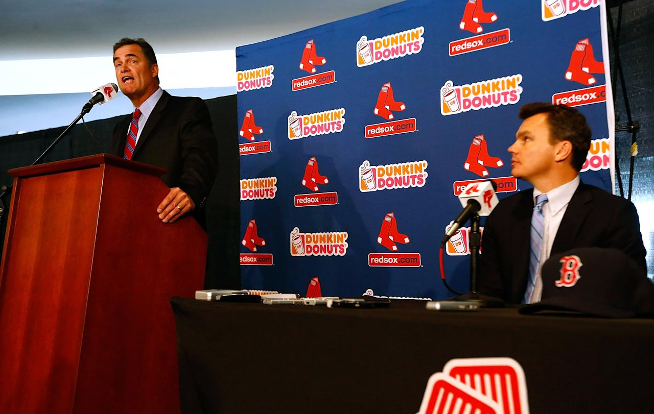 BOSTON, MA - OCTOBER 23:  Executive Vice President and General Manager of the Boston Red Sox, Ben Cherington (R), introduces John Farrell as the new manager, the 46th manager in the club's 112-year history, on October 23, 2012 at Fenway Park in Boston, Massachusetts.  (Photo by Jared Wickerham/Getty Images)