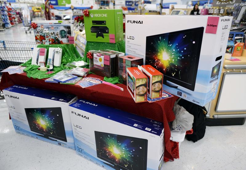 Electronic items which will be discounted for Black Friday sales are seen on display at the Wal-Mart Supercenter in the Porter Ranch section of Los Angeles
