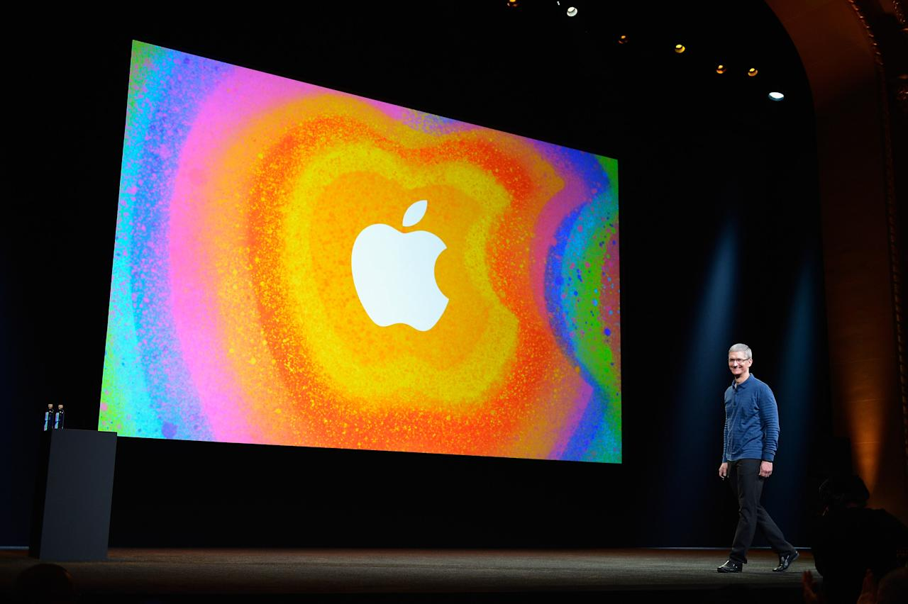 SAN JOSE, CA - OCTOBER 23:  Apple CEO Tim Cook speaks during an Apple special event at the historic California Theater on October 23, 2012 in San Jose, California. Apple is expected to introduce a smaller, less expensive version of the iPad.  (Photo by Kevork Djansezian/Getty Images)
