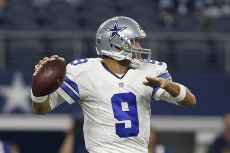 Aug 19, 2016; Arlington, TX, USA; Dallas Cowboys quarterback Tony Romo (9) throws a pass in the first quarter against the Miami Dolphins at AT&T Stadium. Mandatory Credit: Tim Heitman-USA TODAY Sports  / Reuters  Picture Supplied by Action Images