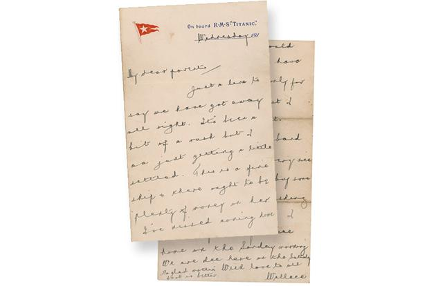 A letter written by Wallace Hartley, the Titanic's heroic bandleader, who with his band played as the Titanic sunk.