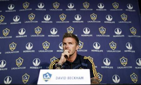 Los Angeles Galaxy soccer player David Beckham attends a press conference in Hoboken, New Jersey