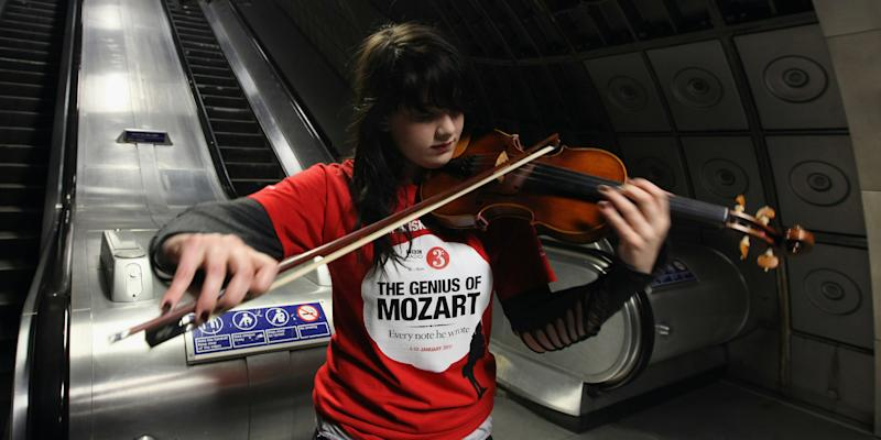 Classical Musicians Busk On The Underground As Part Of Radio 3's Genius Of Mozart