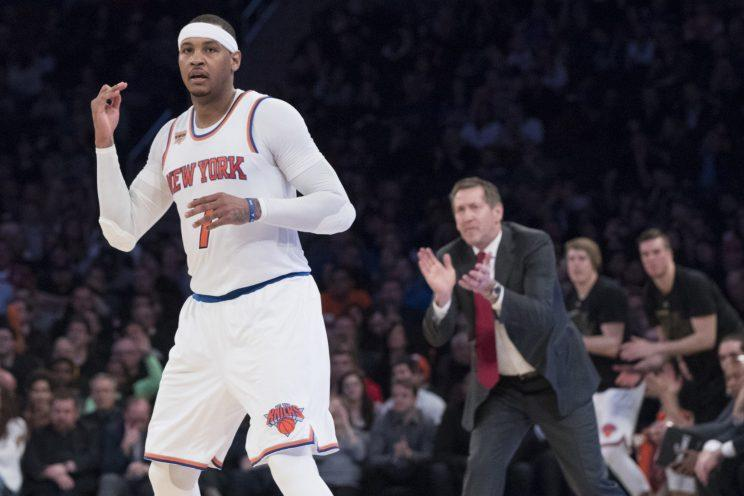 Carmelo Anthony's trade bonus at the deadline will be $9,187,617. (AP)