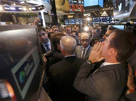 Twitter CEO Costolo looks on during the Twitter Inc. IPO on the floor of the New York Stock Exchange in New York