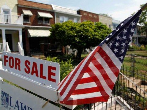for sale sign flag america home