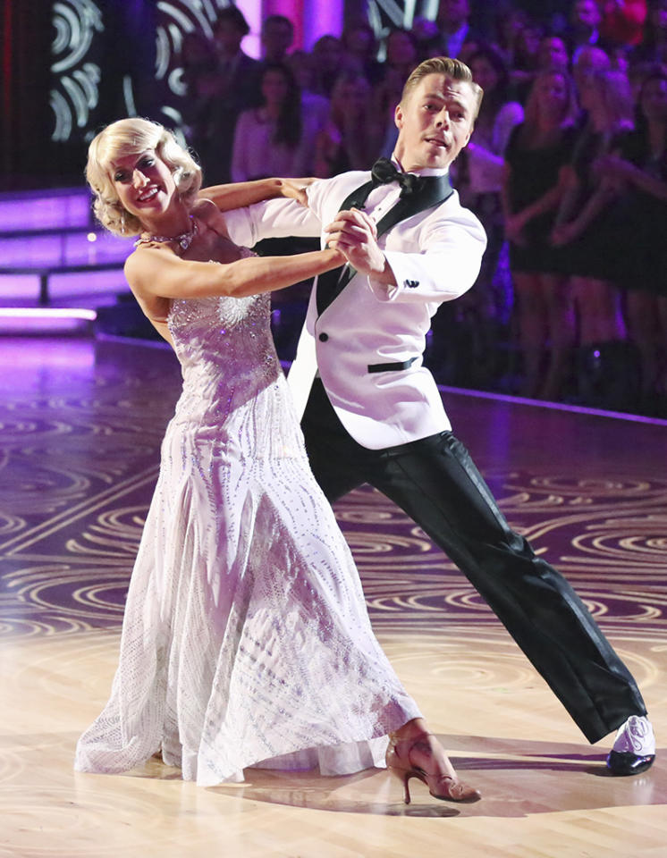 "In Week 5, Kellie and Derek's foxtrot featured old Hollywood glam, as the country star sported a bobbed blond wig and a sparkly evening gown. Kellie told <a href=""http://www.theboot.com/2013/04/16/kellie-pickler-dancing-with-the-stars-week-5-foxtrot/"">the Boot</a> she loved the ""custom-made, couture, beautiful outfits"" she wore on the show. ""The wardrobe team here is unbelievable, and they make everything by hand,"" she said, noting her Hollywood starlet ensemble. ""This is the most clothes they've given me all season!"""