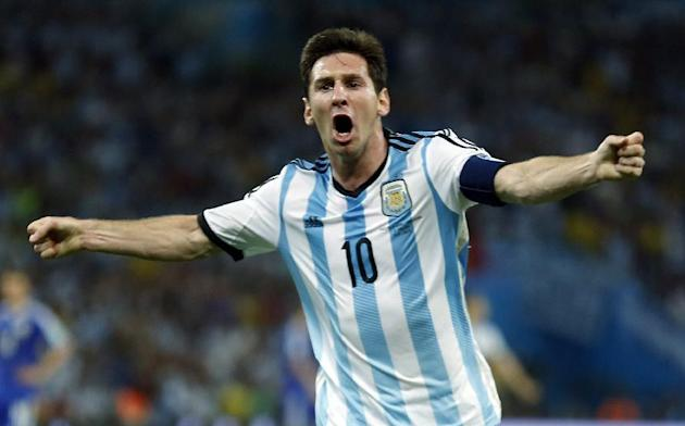 Argentina's Lionel Messi celebrates after scoring his goal against Bosnia-Herzegovina. (Reuters)