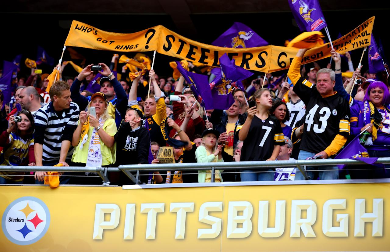 LONDON, ENGLAND - SEPTEMBER 29: Pittsburgh Steelers fans enjoy the atmosphere during the NFL International Series game between Pittsburgh Steelers and Minnesota Vikings at Wembley Stadium on September 29, 2013 in London, England. (Photo by Julian Finney/Getty Images)